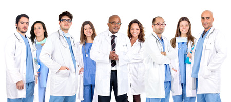 Group of doctors isolated in a white backgroud photo