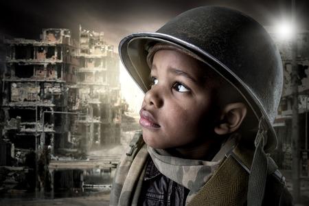 niños africanos: El muchacho joven soldado retrato
