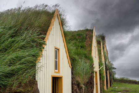 turf flowers: Beautiful turf houses in Glaumbaer in Iceland