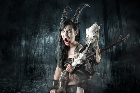 faun: Faun sorceress with big horns in a forest