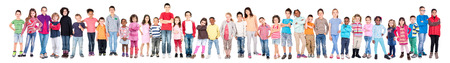 large group: Large group of children posing isolated in white