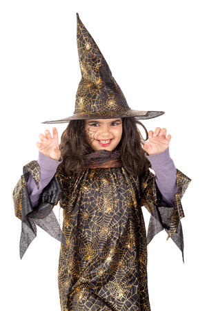 evil face: Girl with face-paint and Halloween witch costume isolated in white