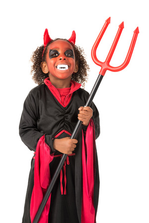Girl with face-paint and devil Halloween costume isolated in white Stock Photo