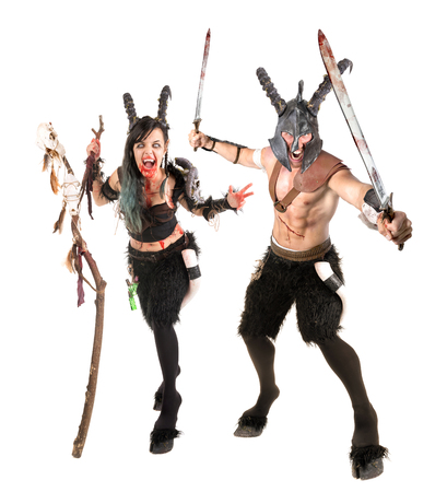 faun: Fantasy faun couple isolated in a white background