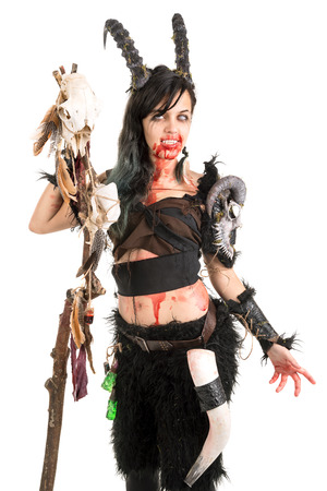 faun: Faun sorceress with big horns and blood isolated in white