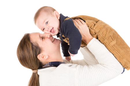 baby isolated: Mother with baby isolated in a white background