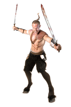 Faun warrior with swords and blood isolated in white Stock Photo