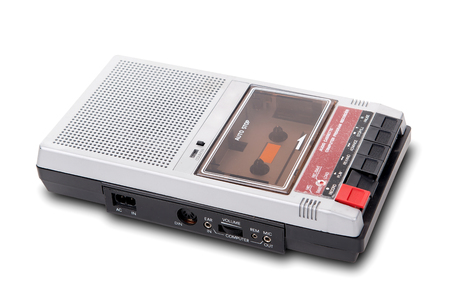 tape player: Old Cassette Tape player and recorder on a white background. Stock Photo