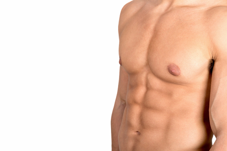 abdominal muscles: Mans torso showing great abdominal muscles isolated in white