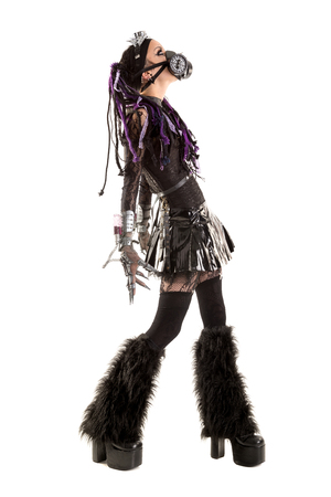 cyber girl: Cyber Gothic girl posing isolated in white