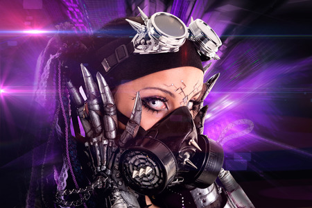 gothic girl: Cyber Gothic girl posing with a futuristic background Stock Photo