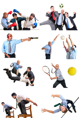 Businessmen in several sports isolated in white photo
