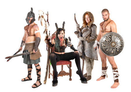 Fantasy group with sorceress, male warriors and female hunter
