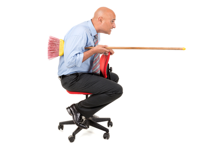 jousting: worker in a chair jousting with a broom