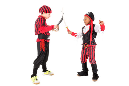 outlaw: Young boys in pirate costumes for Halloween