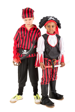 Young boys in pirate costumes for Halloween