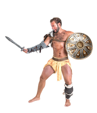 Ancient warrior or Gladiator isolated in a white background Archivio Fotografico