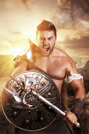 Ancient warrior or Gladiator ready to fight