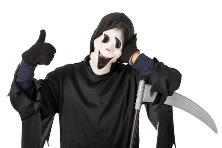 haunt: Kid with reaper mask in  Halloween costume isolated in white