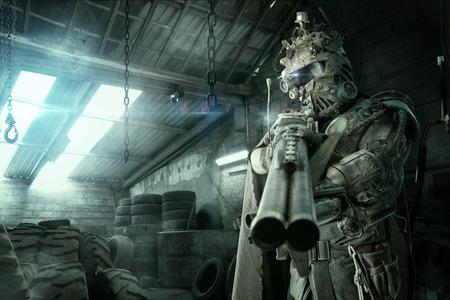 Futuristic soldier posing with gun and armor Standard-Bild