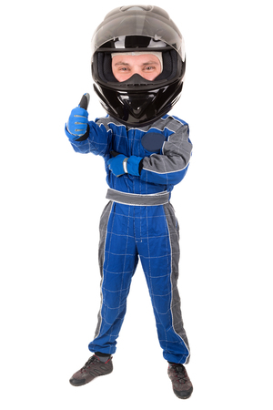 big head: Racing driver with big head posing with helmet isolated in white