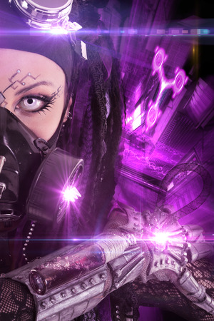 futuristic girl: Cyber Gothic girl posing with a futuristic background Stock Photo