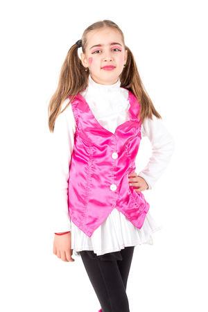 trick or tread: Young girl posing with costume isolated in white