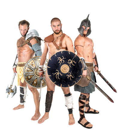 Group of gladiators isolated in a white background