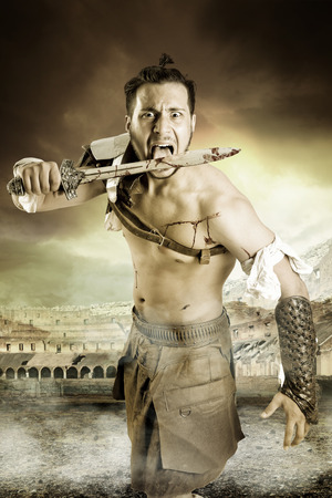 legends: Ancient warrior or Gladiator in the arena with sword