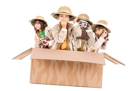 game drive: Children in a cardboard box playing Safari