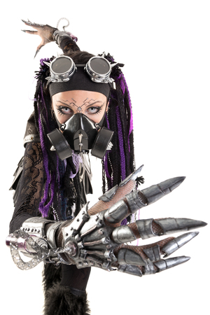 steampunk goggles: Cyber Gothic girl posing isolated in white