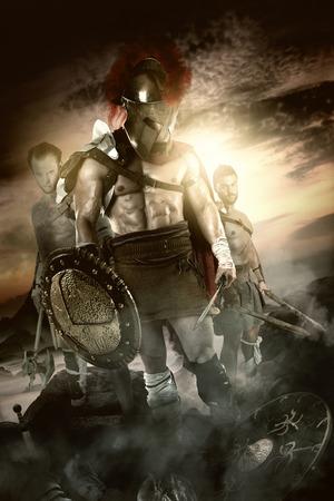 Groupe de guerriers ou Gladiateurs après la bataille Banque d'images - 81123506
