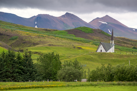 Beautiful landscape of a church in Icelandic mountain
