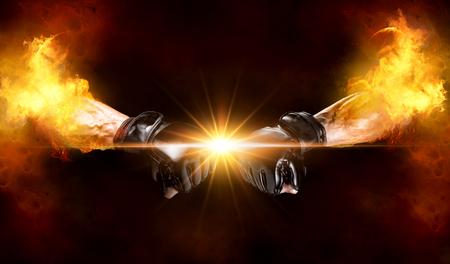 火の混合格闘技の戦闘機腕
