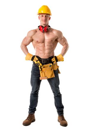 travailleur de construction solide travailleur isolé en blanc