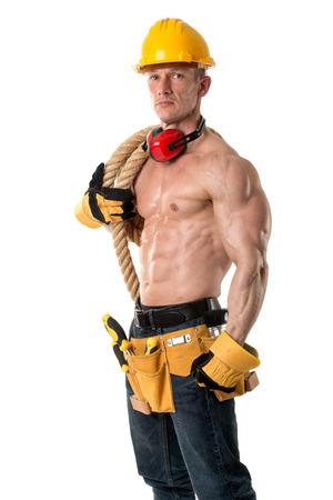 흰색에서 격리하는 큰 로프와 강한 건설 노동자 건설 스톡 콘텐츠