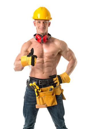Power shirtless athletic construction worker showing great phisique. Reklamní fotografie