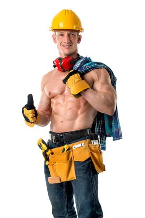 Power-shirtloze atletische bouwvakker met grote phisique. Stockfoto