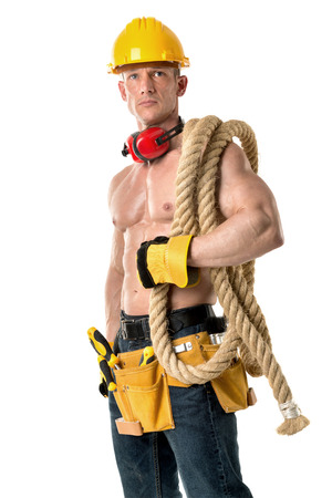 Strong build construction worker with big rope isolated in white Stock fotó