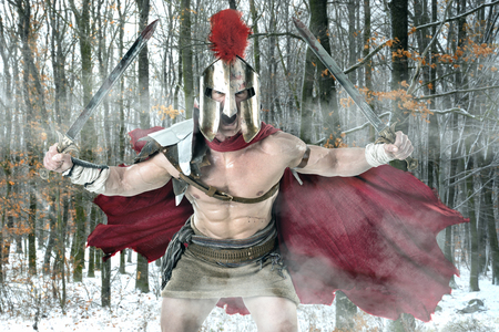 Ancient warrior or Gladiator ready to battle in a forest Banco de Imagens