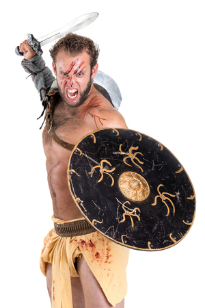 Ancient warrior or Gladiator isolated in a white background Reklamní fotografie