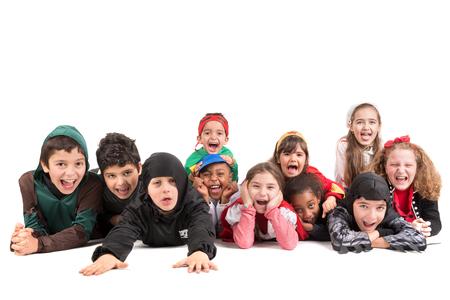 分離されたハロウィーンCanaval 衣装の子供のグループ