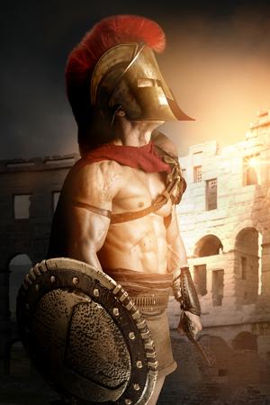 古代の戦士や剣闘士、アリーナでポーズ