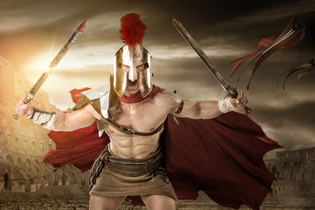 고대 전사 또는 검투사 경기장에서 포즈