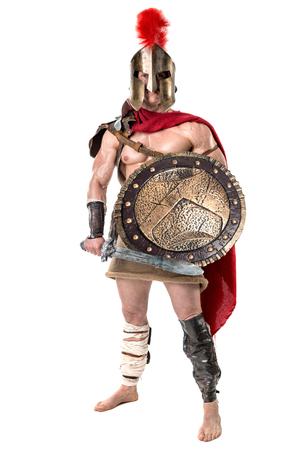 Guerrier ou gladiateur antique posant sur un fond blanc Banque d'images - 88611521