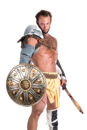 Ancient warrior or Gladiator isolated in a white background Banco de Imagens