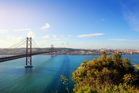 25 de Abril bridge in Lisbon Portugal at sunset