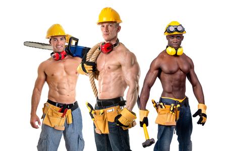De groep sterk bouwt bouwvakkers die in wit worden geïsoleerd Stockfoto