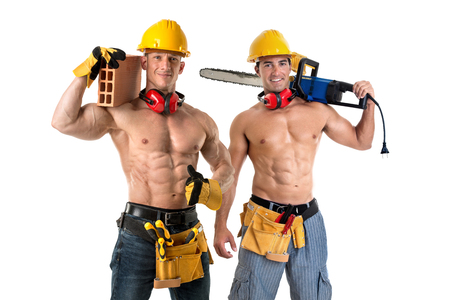 Two strong build construction workers isolated in white