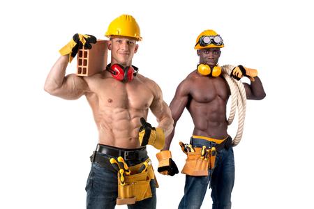 Twee sterk bouwen bouwvakkers geïsoleerd in wit Stockfoto